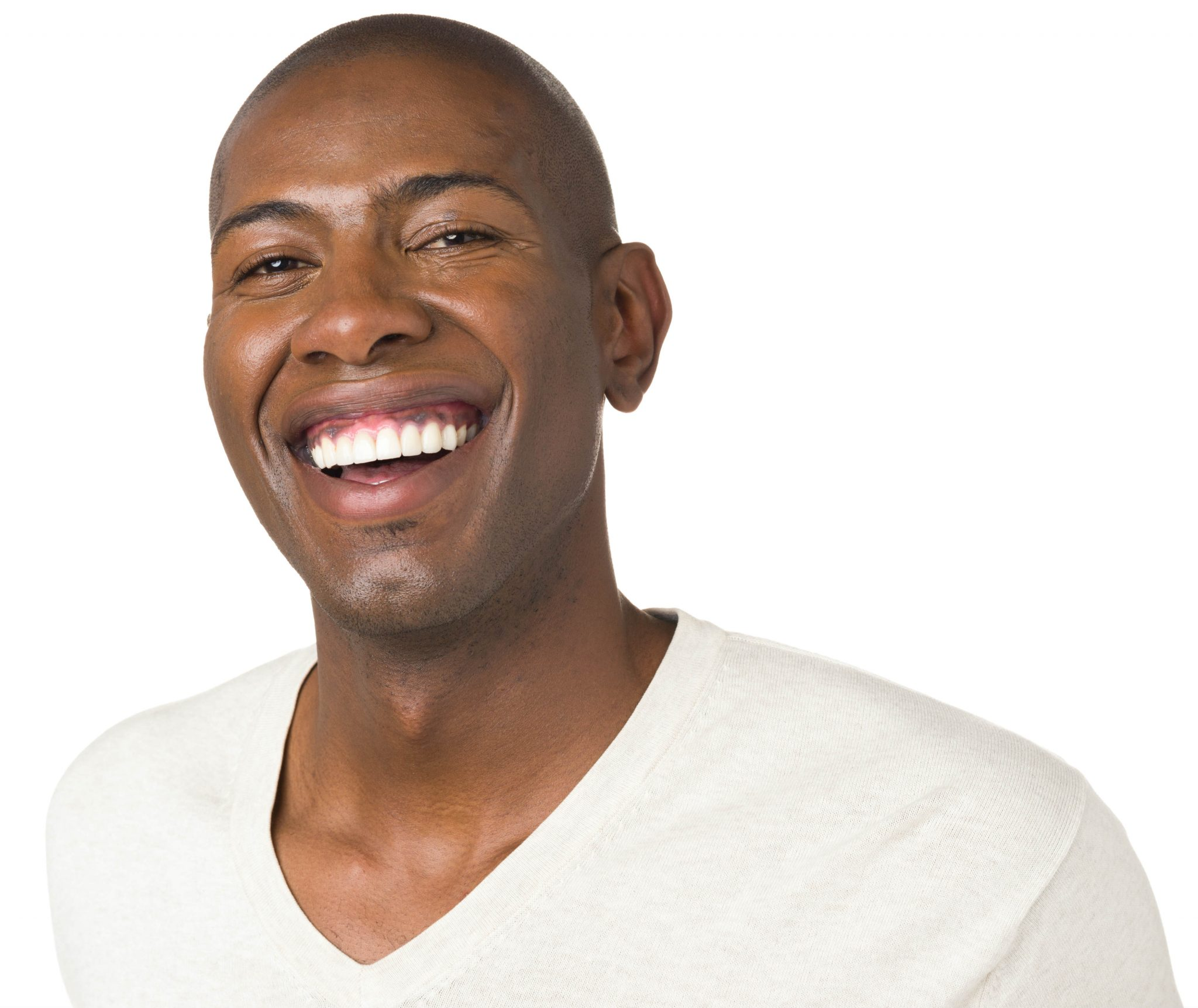 man happily smiling with porcelain veneers